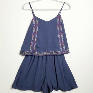 Xhilaration Romper Large New Blue Embroidered